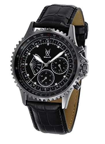 Konigswerk Herrenuhr Multifunktions-Lederband Armbanduhr schwarzes Zifferblatt Kristall Markierungen SQ201457G