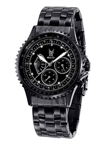Konigswerk HerrenuhrSchwarz-Armband-Uhr-Multifunktions Kristall Markierungen Tag Datum SQ201458G