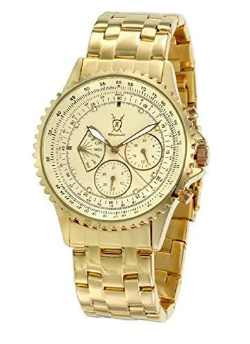 Koenigswerk Herrenuhr Goldton plattiert Armbanduhr aus Edelstahl Multifunktions-Kristall-Markers SQ201466G