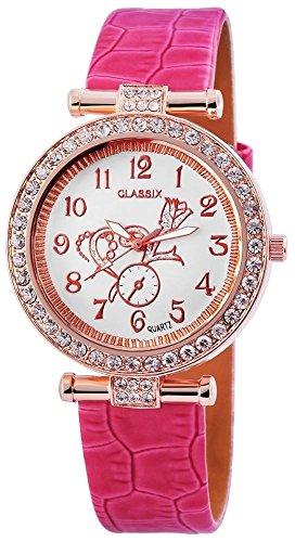 Classix Analog Damenuhr Lederimitat 38 mm Pink RP1270550001