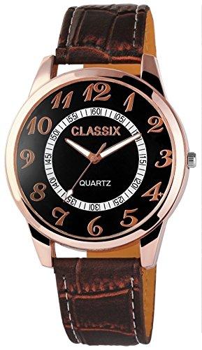 Classix Retro braune Men Watch Armbanduhr Pu Leder analog Quartz