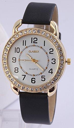 Classix Armbanduhr mit Lederimitationsarmband schwarz Gehaeuse goldfarben mit Strass