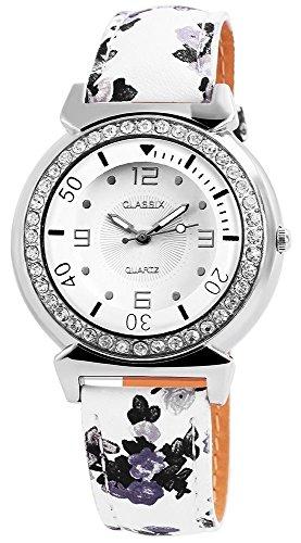 Classix Armbanduhr mit Lederimitationsarmband Blumen Retro Schwarz Weiss Silber Strasssteine