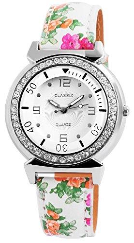 Classix Damenuhr Armbanduhr mit Lederimitationsarmband Blumen Retro Creme Silber Strasssteine