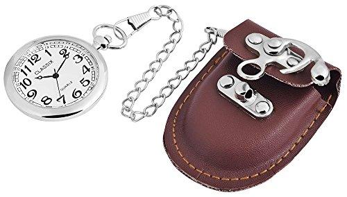 Classix Guertel Taschenuhr silberfarben weiss und braune Tasche RP2602200016