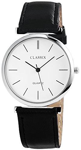 Classix Herren und Uhr mit schwarzen Lederimitationsarmband