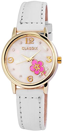 Armbanduhr Uhr Kunstlederarmband 22cm Dornschliesse Weiss RP1280200001
