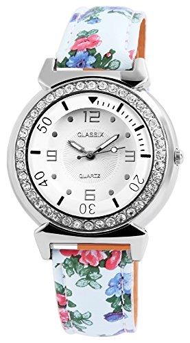 Classix Damenuhr Armbanduhr mit Lederimitationsarmband Blumen Retro Hellblau Silber Strasssteine