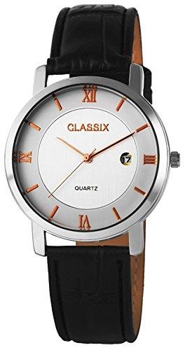 Klassische Classix Men Armbanduhr Pu Leder Herrenuhr mit Datum