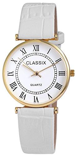Classix Goldfarbig Quarzwerk und Metallgehaeuse rund 34mm x 7mm Kunstlederarmband Weiss 22cm x 18mm Dornschliesse und Ziffernblatt in weiss RP1250200008