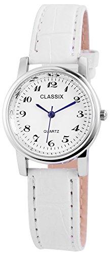 Classix Damen Analog Armbanduhr mit Quarzwerk RP1262200004 und Metallgehaeuse mit Kunstlederarmband in Weiss und Dornschliesse Ziffernblattfarbe Weiss Bandgesamtlaenge 23 cm Armbandbreite 16 mm