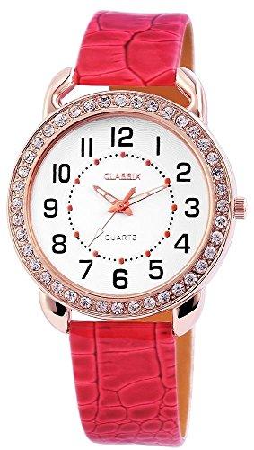 Classix Damen Analog Armbanduhr mit Quarzwerk RP1273500002 und Metallgehaeuse mit Kunstlederarmband in Rot und Dornschliesse Ziffernblattfarbe Weiss Bandgesamtlaenge 23 cm Armbandbreite 18 mm