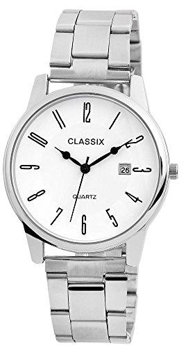 Classix Herren mit Quarzwerk RP1352200001 Metallgehaeuse mit Edelstahl Armband Silberfarbig und Faltschliesse Ziffernblatt Weiss Bandgesamtlaenge 18cm Bandbreite 20mm