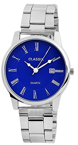 Classix Herren mit Quarzwerk RP1352300002 Metallgehaeuse mit Edelstahl Armband Silberfarbig und Faltschliesse Ziffernblatt blau Bandgesamtlaenge 18cm Bandbreite 20mm