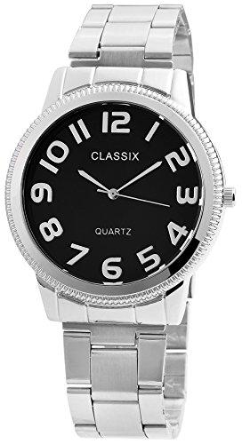 Classix Herren Analog Armbanduhr mit Quarzwerk RP1362100001 Metallgehaeuse mit Edelstahl Armband Silberfarbig und Faltschliesse Ziffernblatt schwarz Bandgesamtlaenge 19cm Bandbreite 20mm