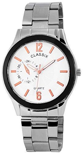 Classix Herren Analog Armbanduhr mit Quarzwerk RP1362210006 Metallgehaeuse mit Edelstahl Armband Silberfarbig und Faltschliesse Ziffernblatt Weiss Bandgesamtlaenge 19cm Bandbreite 19mm