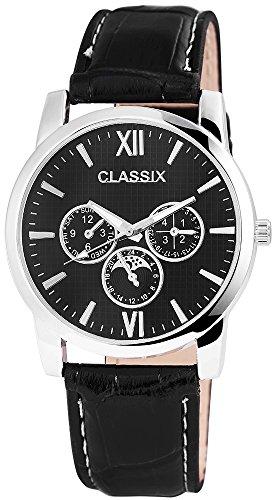 Classix Herren analog Armbanduhr mit Quarzwerk Chronolook RP4782100008 Metallgehaeuse mit Kunstleder Armband in Schwarz und Dornschliesse Ziffernblattfarbe Schwarz Bandlaenge 24 cm Armbandbreite 22 mm