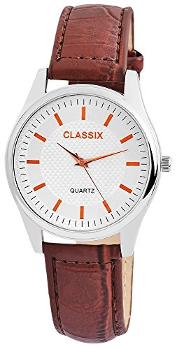 Classix Herren mit Quarzwerk RP4782250012 Metallgehaeuse mit Kunstlederarmband Braun und Dornschliesse Ziffernblatt silberfarbig Bandgesamtlaenge 24cm Bandbreite 20mm