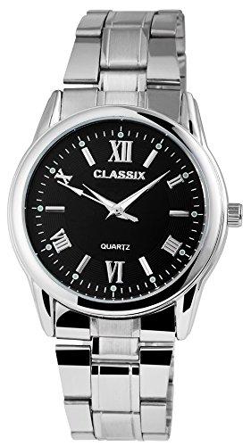 Classix Herrenuhr analog Armbanduhr Silberfarbig Quarzwerk und Metallgehaeuse rund 40mm x 11mm Edelstahlarmband Silberfarbig 19cm x 22mm Faltschliesse und Ziffernblatt in schwarz RP1372100005