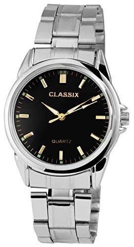 Classix Silberfarbig Quarzwerk und Metallgehaeuse rund 38mm x 12mm Edelstahlarmband Silberfarbig 18cm x 20mm Faltschliesse und Ziffernblatt in schwarz RP1372110007
