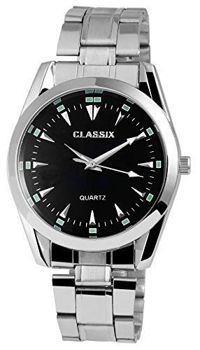 Classix Herrenuhr analog Armbanduhr Silberfarbig Quarzwerk und Metallgehaeuse rund 41mm x 12mm Edelstahlarmband Silberfarbig 18cm x 20mm Faltschliesse und Ziffernblatt in schwarz RP1372100008