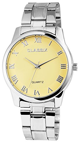 Classix Silberfarbig Quarzwerk und Metallgehaeuse rund 41mm x 9mm Edelstahlarmband Silberfarbig 18cm x 20mm Faltschliesse und Ziffernblatt in gelb RP1372750003