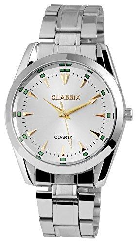 Classix Herrenuhr analog Armbanduhr Silberfarbig Quarzwerk und Metallgehaeuse rund 41mm x 12mm Edelstahlarmband Silberfarbig 18cm x 20mm Faltschliesse und Ziffernblatt in silberfarbig RP1372210008