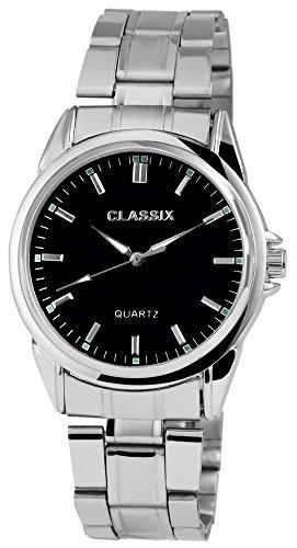 Classix Herrenuhr analog Armbanduhr Silberfarbig Quarzwerk und Metallgehaeuse rund 38mm x 12mm Edelstahlarmband Silberfarbig 18cm x 20mm Faltschliesse und Ziffernblatt in schwarz RP1372100007
