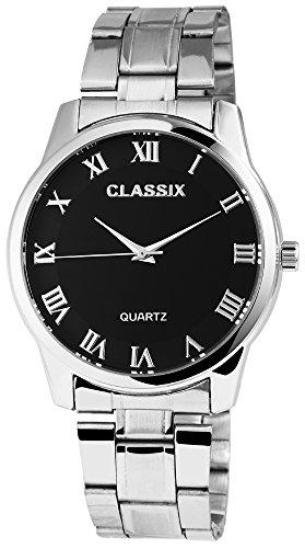Classix Herrenuhr analog Armbanduhr Silberfarbig Quarzwerk und Metallgehaeuse rund 41mm x 9mm Edelstahlarmband Silberfarbig 18cm x 20mm Faltschliesse und Ziffernblatt in schwarz RP1372100003