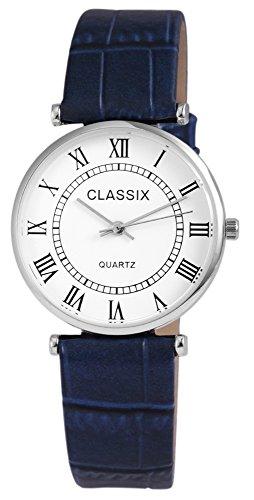 Classix Silberfarbig Quarzwerk und Metallgehaeuse rund 34mm x 7mm Kunstlederarmband Blau 22cm x 18mm Dornschliesse und Ziffernblatt in weiss RP1252220008