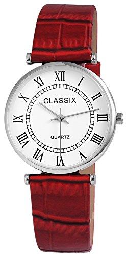Classix Damenuhr analog Armbanduhr Silberfarbig Quarzwerk und Metallgehaeuse rund 34mm x 7mm Kunstlederarmband Rot 22cm x 18mm Dornschliesse und Ziffernblatt in weiss RP1252210008