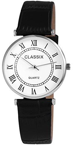 Classix Damenuhr analog Armbanduhr Silberfarbig Quarzwerk und Metallgehaeuse rund 34mm x 7mm Kunstlederarmband Schwarz 22cm x 18mm Dornschliesse und Ziffernblatt in weiss RP1252200008
