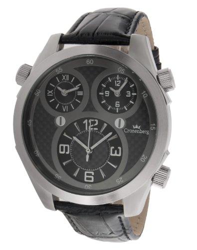 Cronenberg Herren Armbanduhr Analog Quarz Leder Schwarz 12072W2