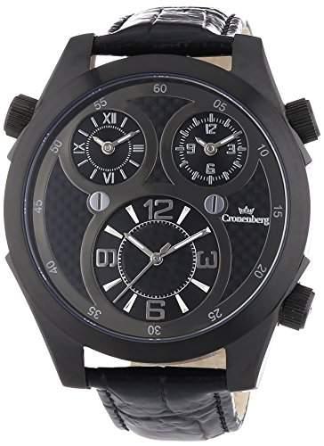Cronenberg Herren-Armbanduhr XL Global Timer Analog Quarz Leder 12072W3
