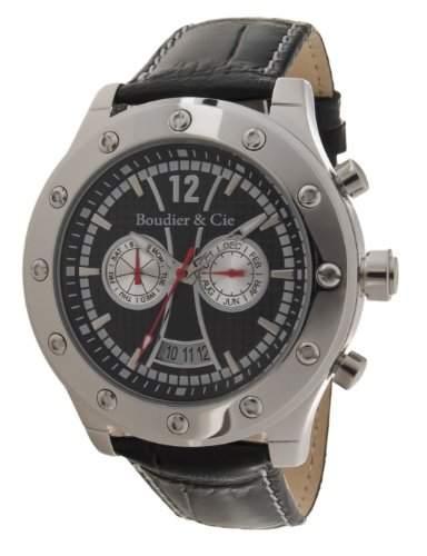 Boudier & Cie Herren-Armbanduhr Automatik Analog Leder Schwarz - OZG1093