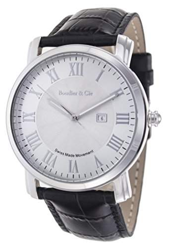 Boudier & Cie Herren-Armbanduhr Quarz Analog Leder Schwarz - BC15SA1