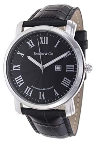 Boudier & Cie Herren-Armbanduhr Quarz Analog Leder Schwarz - BC15SA2