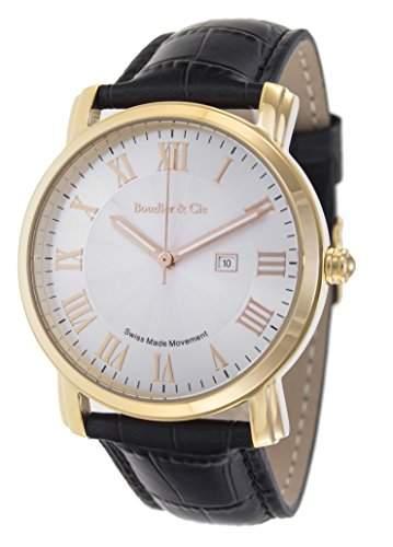 Boudier & Cie Herren-Armbanduhr Quarz Analog Leder Schwarz - BC15SA3