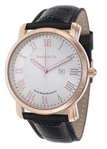 Boudier & Cie Herren-Armbanduhr Quarz Analog Leder Schwarz - BC15SA4
