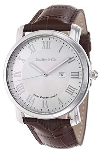 Boudier & Cie Herren-Armbanduhr Quarz Analog Leder Braun - BC15SA5