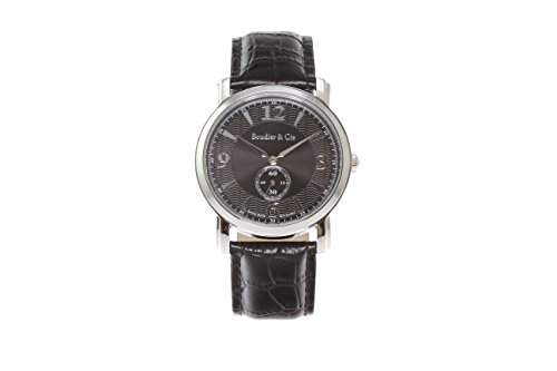 Boudier & Cie Herren-Armbanduhr Quarz Analog Leder Schwarz - BSSM201