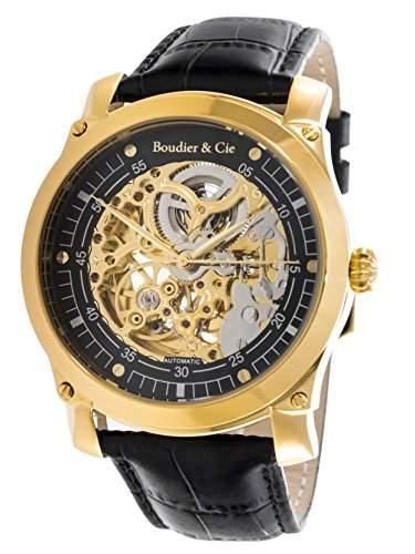 Boudier & Cie Herren-Armbanduhr Automatik Analog Skelettuhr Leder Schwarz - CO55H90127