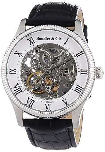 Boudier & Cie Herren Automatikuhr mechanische Uhr mit skelettiertem Ziffernblatt - Skelettuhr - Skeleton - analoge Anzeige mit offener Unruh - Echtlederarmband und Edelstahlgehaeuse 42 mm -CO13H12