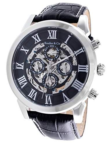 Boudier & Cie Herren-Armbanduhr Automatik Analog Skelettuhr Leder Schwarz - LS49559099