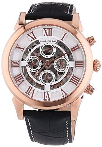 Boudier & Cie Herren Automatikuhr mechanische Uhr mit skelettiertem Ziffernblatt - Skelettuhr - Skeleton - analoge Anzeige - Echtlederarmband und Edelstahlgehaeuse 43 mm - LS49559100