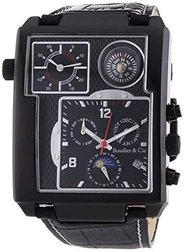 Boudier & Cie XL Herren-Armbanduhr Automatik Analog Leder Schwarz - OZG1008
