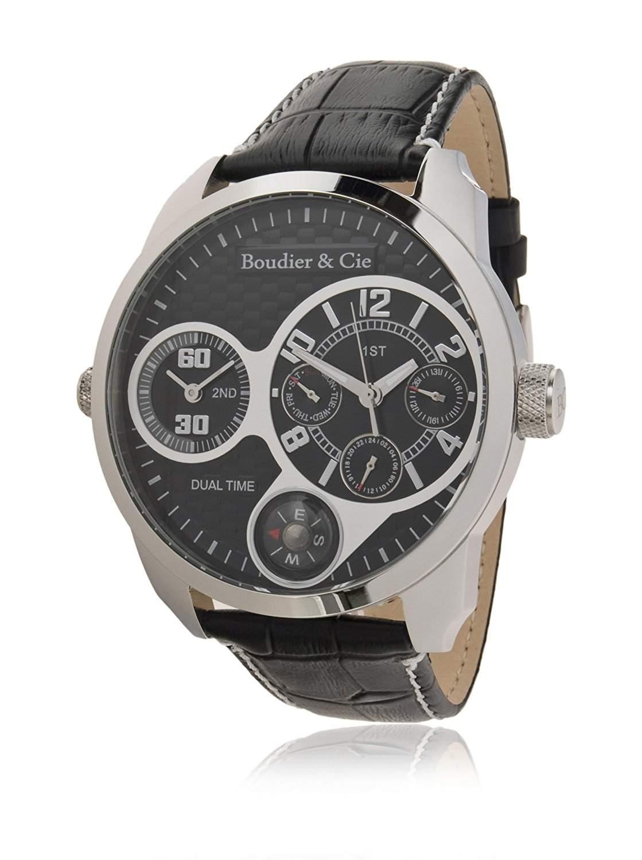Boudier & Cie Herren - Armbanduhr mit Zwei Zeitzonen - analoge Anzeige - Echtlederarmband und Edelstahlgehaeuse 48 mm - OZG1083
