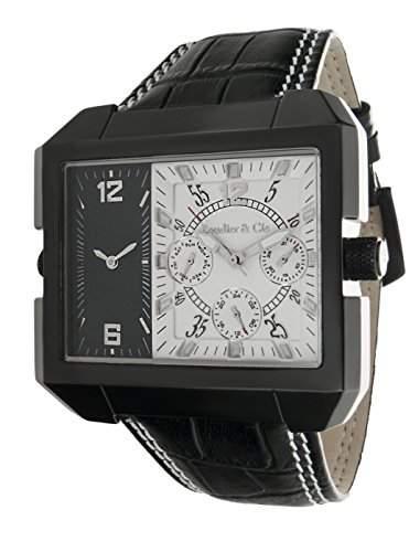 Boudier & Cie XL Herren-Armbanduhr Quarz Analog Leder Schwarz - OZG1092