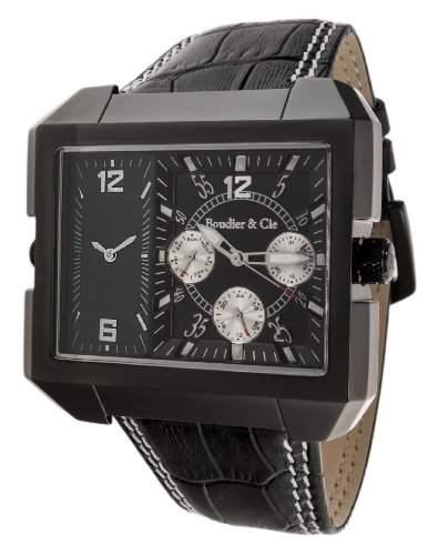 Boudier & Cie XL Herren-Armbanduhr Quarz Analog Leder Schwarz - OZG1105