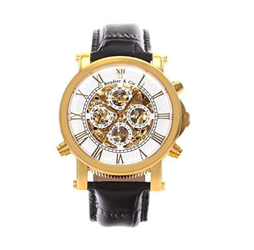 Boudier & Cie Herren-Armbanduhr mechanische Automatik Analog Skelettuhr Leder Schwarz - SK14H035